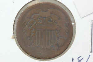 1864 TWO CENT REPUNCHED DATE MINT ERROR