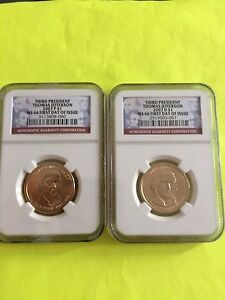 2007 JEFFERSON P&D NGC MS 66 FIRST DAY ISSUE BUSINESS STRIKE 2 COIN DOLLAR SET
