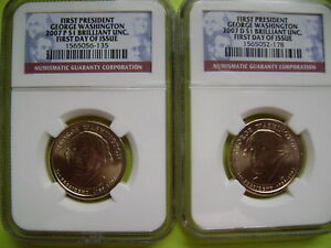 2007 WASHINGTON P&D NGC BRILLIANT UNCIRCULATED FIRST DAY ISSUE 2 COIN DOLLAR SET