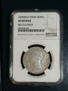 1840 INDIA   B&C   RUPEE NGC EXTRA FINE 1R SILVER COIN PRICED TO SELL NOW
