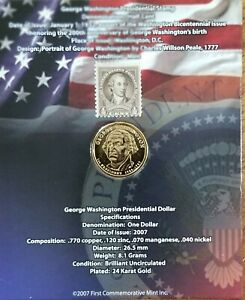 PRESINDENTIAL DOLLAR AND STAMP GEORGE WASHINGTON.. 2007 FIRST COMMEMORATIVE MINT