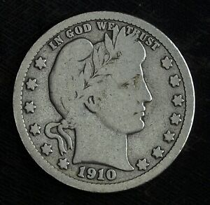 1910 O BARBER SILVER QUARTER  CIRCULATED QUARTER  GREAT BOOK FILLER CLEANED
