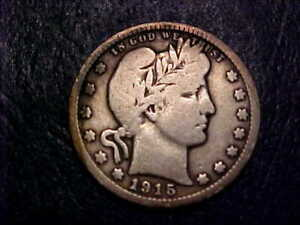 1915 D BARBER QUARTER NICE FULL RIMS ON BOTH SIDES