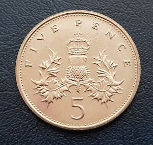 1987 ROYAL MINT FIVE PENCE 5 P COIN BRILLIANT UNCIRCULATED UNITED KINGDOM