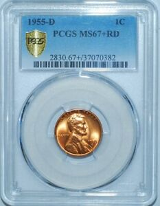 Click now to see the BUY IT NOW Price! 1955 D PCGS MS67 RD RED LINCOLN WHEAT CENT POP 2/0 TIED FOR FINEST REGISTRY