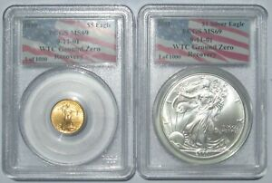 Click now to see the BUY IT NOW Price! PCGS MS69 WTC GROUND ZERO RECOVERY 1999 $5 GOLD & 2001 SILVER EAGLE 1 OF 1000
