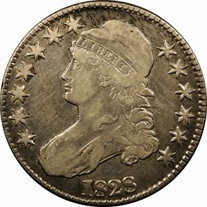 1828 50C CAPPED BUST SILVER HALF DOLLAR F VF  OLD TYPE COIN MONEY
