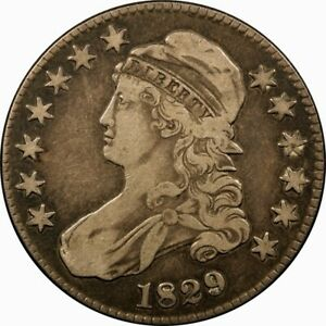 1829 50C CAPPED BUST SILVER HALF DOLLAR VF  OLD TYPE COIN MONEY
