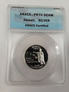 2008 S ANACS PR70 DCAM HAWAII SILVER STATE QUARTER  MINT PROOF