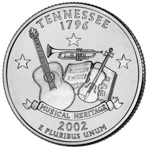 2002 D TENNESSEE STATE QUARTER CIRCULATED COIN CLAD. FILL YOUR COIN BOOK 5089