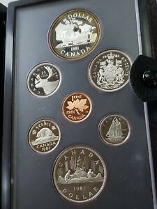 CANADA 1981 DOUBLE DOLLAR 7 PIECE PROOF SET WITH A SILVER DOLLAR IN BOX NO COA