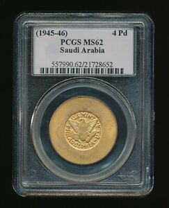 Click now to see the BUY IT NOW Price! SAUDI ARABIA  1945 46  GOLD 4PD  PHILADELPHIA MINT. PCGS MS62              H