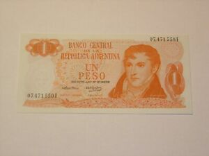 ARGENTINA 1974 1 PESO UNCIRCULATED BANKNOTE   P 293A