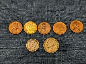 OLD COIN STARTER COLLECTION LOT OF 7  NO LONGER FOUND IN POCKET CHANGE