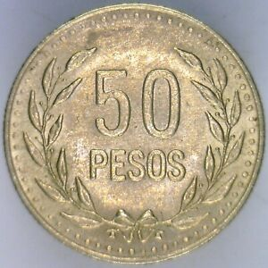 COLOMBIA 1989 50 PESOS  LIGHTLY CIRCULATED CONDITION  NICE COIN