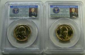 2014 D FRANKLIN D. ROOSEVELT PRESIDENTIAL DOLLAR COIN PCGS MS66 POSITION A & B