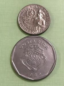 BEAUTIFUL 1985 COSTA RICA 20 COLONES NICE CIRCULATED COIN