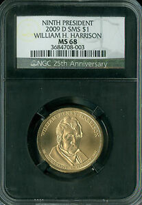 2009 D WILLIAM HARRISON PRES. DOLLAR NGC MS68 SMS RETRO 2ND FINEST SPOTLESS .