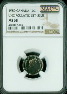 1981 CANADA 10 CENTS NGC MAC MS 68 PQ 2ND FINEST GRADE SPOTLESS