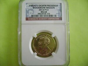 2013 P WOODROW WILSON NGC MS 68 BUSINESS STRIKE DOLLAR COIN