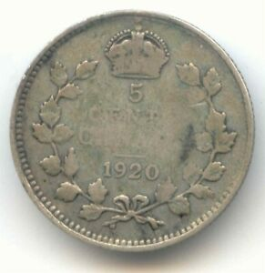 CANADA 1920 FIVE CENT CANADIAN SILVER NICKEL   5C