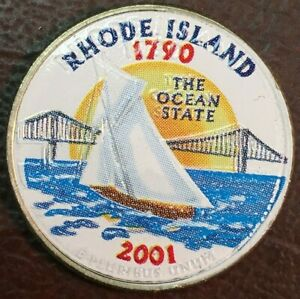 2001 D RHODE ISLAND UNCIRCULATED STATE COLORIZED US QUARTER