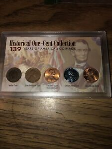 HISTORICAL ONE CENT COLLECTION US PENNY SET   139 YEARS OF AMERICAN COINAGE