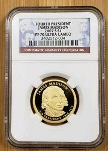 2007 S PRESIDENTIAL DOLLAR $1 JAMES MADISON   NGC PF70 ULTRA CAMEO