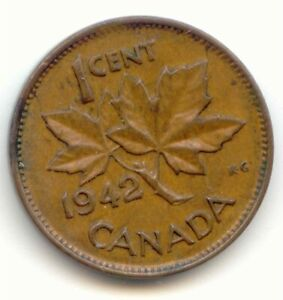 CANADA 1942 PENNY CANADIAN 1 CENT ONE COIN 1C EXACT COIN SHOWN