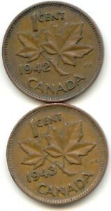 CANADA 1942 AND 1943 ONE CENT CANADIAN PENNIES PENNY 1C EXACT SET SHOWN