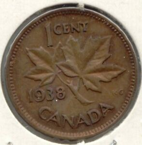 CANADA 1938 PENNY CANADIAN 1 CENT ONE COIN