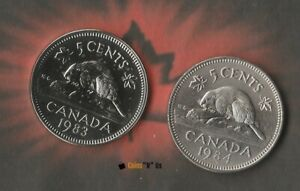1983 AND 1984 CANADIAN 5 CENT/ NICKEL PROOF AND SPECIMEN COMBO