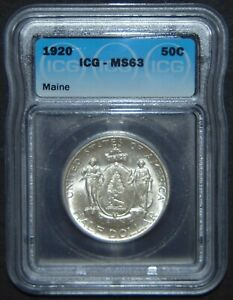 1920 MAINE COMMEMORATIVE SILVER HALF DOLLAR   ICG MS63 NICE COIN