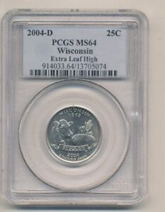 2004 D WISCONSIN STATE QUARTER EXTRA LEAF HIGH  PCGS MS 64  GREAT ERROR   AA988