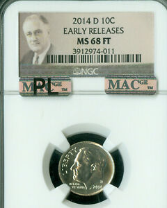 Click now to see the BUY IT NOW Price! 2014 D ROOSEVELT DIME NGC MAC MS68 FT PQ PL ER  FINEST GRADE   .