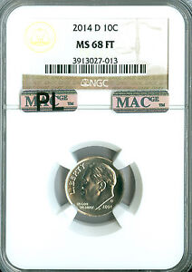 Click now to see the BUY IT NOW Price! 2014 D ROOSEVELT DIME NGC MAC MS68 FT PQ PL FINEST GRADE   .