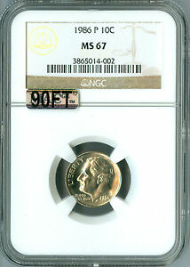 1986 P ROOSEVELT DIME NGC MAC MS 67 90 FT 2ND FINEST GRADE $600 IN FT .