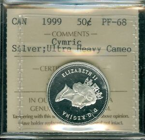 1999 CANADA SILVER CYMRIC 50 CENTS ICCS 68 ULTRA HEAVY CAMEO PROOF SOLO FINEST