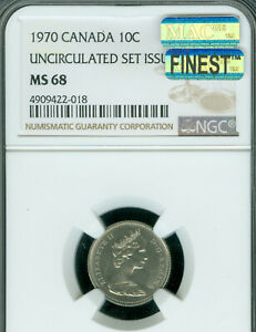 1970 CANADA 10 CENTS NGC MAC MS 68 PQ FINEST GRADE SPOTLESS .