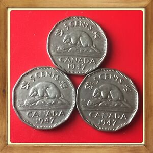 1947 George VI Five Cent - Nickel Mintage, Photos
