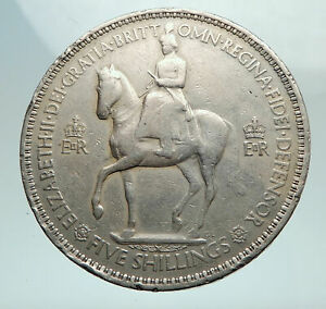 Click now to see the BUY IT NOW Price! 1953 UK GREAT BRITAIN QUEEN ELIZABETH II GENUINE SILVER 5 SHILLINGS COIN I80283