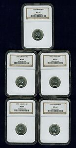 CANADA ELIZABETH II 1955 5 CENTS COINS CHOICE UNCIRCULATED NGC CERTIFIED MS 64