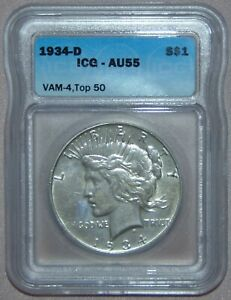1934 D PEACE SILVER DOLLAR ICG AU55   VAM 4 TOP 50 DOUBLE DIE OBV SMALL