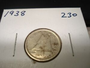 1938   CANADA DIME   SILVER CANADIAN 10 CENT COIN