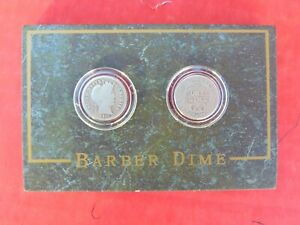 COINS 2 BARBER DIMES 1911D 1911 BOTH IN PLASTICS IN WOOD HOLDER DIME