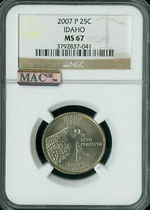 Click now to see the BUY IT NOW Price! 2007 P IDAHO QUARTER NGC MS 67 FINEST BUSINESS STRIKE  POP 11 SPOTLESS.