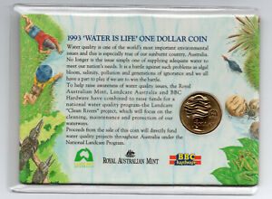 1993   AUSTRALIAN $1   'WATER IS LIFE' ONE DOLLAR COIN   ON CARD