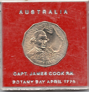 1970   AUSTRALIA CAPTAIN JAMES COOK UNCIRCULATED COIN IN RED CASE: