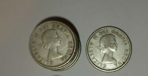 CANADIAN SILVER QUARTERS  10 COINS  ALL 80  SILVER 1950   1965 DATES