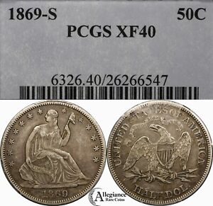 1869 S 50C SEATED LIBERTY SILVER HALF DOLLAR PCGS XF40  OLD TYPE COIN MONEY